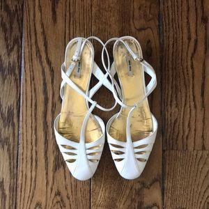 Miu Miu White Leather Kitten Heel Sandals